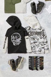 Next 2 Pack Camo Skull Hooded T-Shirts (3-16yrs) - 276018