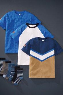 Next 3 Pack Colourblock T-Shirt (3-16yrs) - 276041