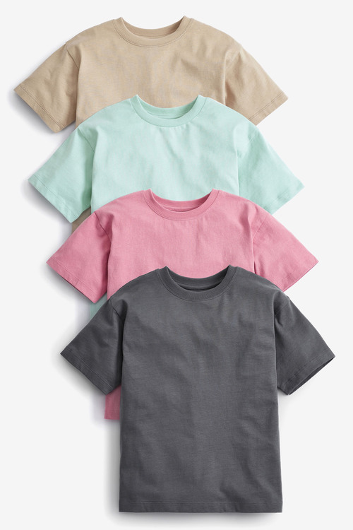 Next 4 Pack Relaxed Drop Shoulder Skate Fit Short Sleeve T-Shirts (3-