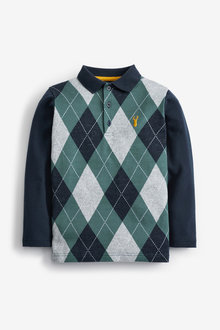 Next Long Sleeve Argyle Pattern Polo (3-16yrs) - 276051