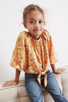 Next Puff Sleeve Tie Front Blouse (3-16yrs) - 276467