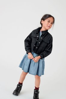 Next Raglan Tiered Denim Dress (3-16yrs) - 276475