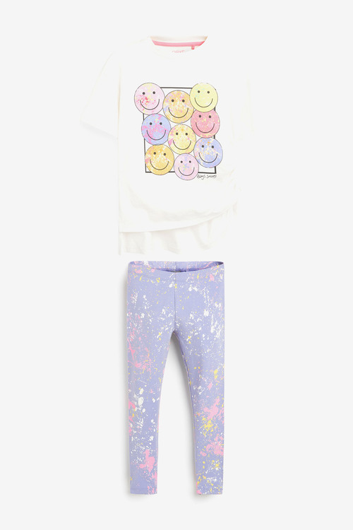 Next Smiley Face T-Shirt And Leggings Set (3-16yrs)