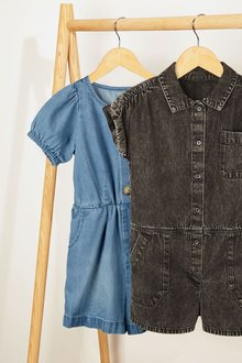 Next Puff Sleeve Denim Boilersuit (3-16yrs) - 276662