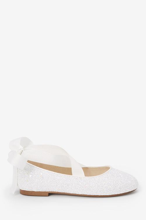 Next Glitter Tie Ballet Shoes (Older)