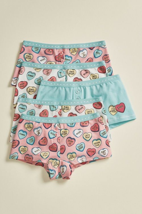 Next 5 Pack Heart Boxers (2-16yrs)
