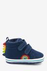 Next Navy Rainbow Two Strap Pram Boots (0-24mths)