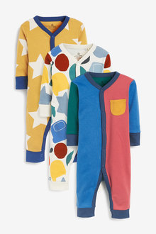 Next 3 Pack Colourblock Footless Sleepsuits (0mths-3yrs) - 276931