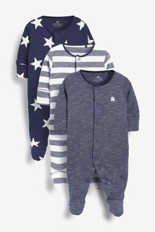 Next 3 Pack Star Stripe Sleepsuits (0mths-2yrs) - 276932