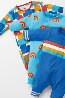 Next 3 Pack Retro Car Footless Sleepsuits (0mths-3yrs) - 276939