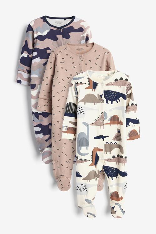 Next 3 Pack Dinosaur Sleepsuits (0mths-2yrs)