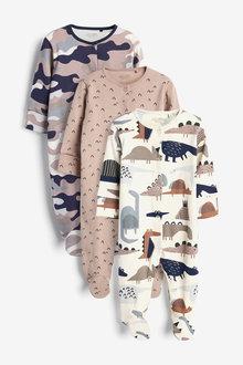Next 3 Pack Dinosaur Sleepsuits (0mths-2yrs) - 276940
