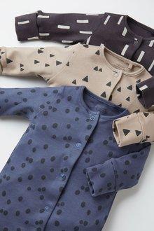 Next 3 Pack Multi Print Sleepsuits (0mths-2yrs) - 276941
