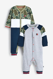 Next 2 Pack Sporty Colourblock Sleepsuits (0mths-2yrs) - 276942