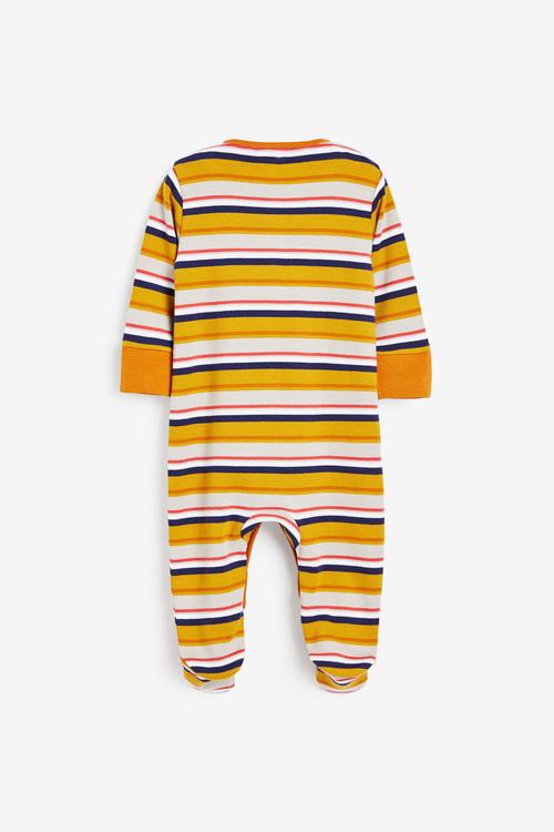 Next 3 Pack Colourblock Stripe Sleepsuits (0mths-2yrs)