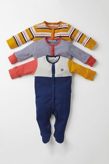 Next 3 Pack Colourblock Stripe Sleepsuits (0mths-2yrs) - 276943