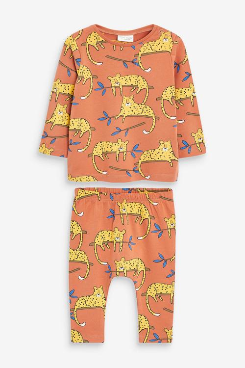 Next GOTS Organic 2 Piece Cheetah T-shirt And Legging Set (0mths-3yrs)