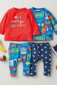 Next 4 Pack Dinosaur T-Shirt And Legging Set (0mths-3yrs) - 276970