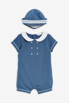 Next Woven Occasion Romper With Hat (0mths-2yrs) - 276975