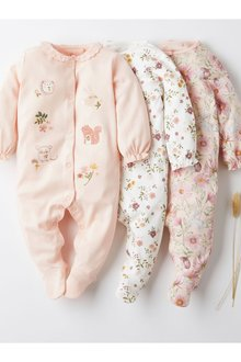 Next 3 Pack Floral Sleepsuits (0mths-2yrs) - 277024