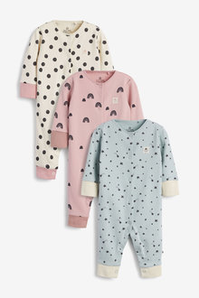 Next 3 Pack Star Spot Footless Sleepsuits (0mths-3yrs) - 277027