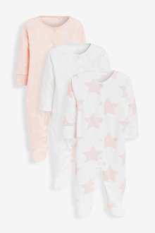 Next 3 Pack Giraffe Star Supima Cotton Sleepsuits (0mths-2yrs) - 277029