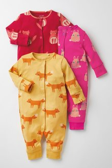 Next 3 Pack Bunny/Cat Footless Sleepsuits (0mths-3yrs) - 277031