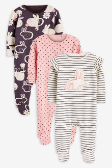 Next 3 Pack Bunny Sleepsuits (0mths-2yrs) - 277032