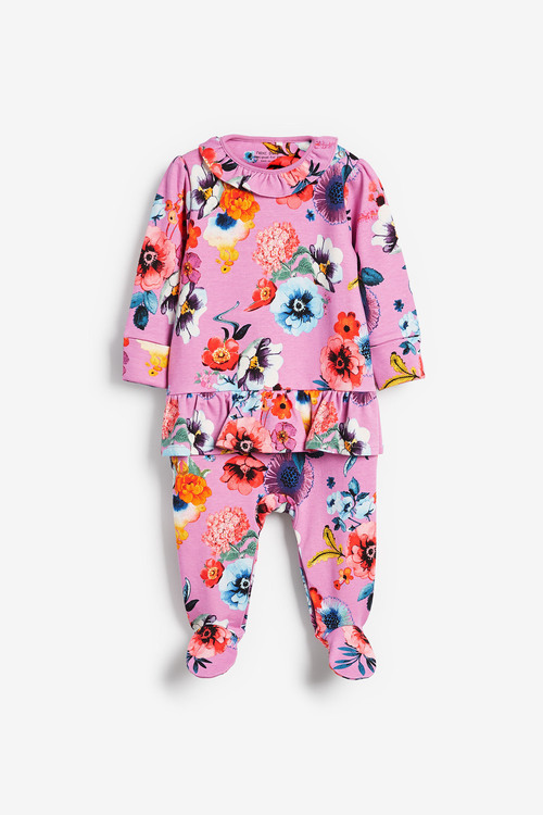 Next Smart Floral Frill Sleepsuit (0mths-2yrs)