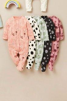 Next 5 Pack Character Polka Dot Sleepsuits (0mths-2yrs) - 277040