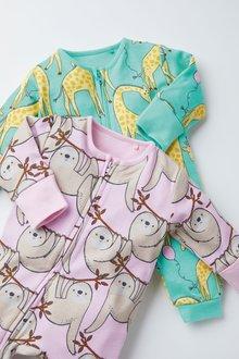 Next 2 Pack Zip Sleepsuits (0-3yrs) - 277041
