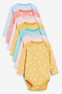 Next 7 Pack Spot Bunny Long Sleeve Bodysuits (0mths-3yrs) - 277051