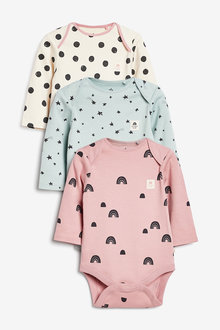 Next 3 Pack Mini Print Long Sleeve Bodysuits (0mths-3yrs) - 277052