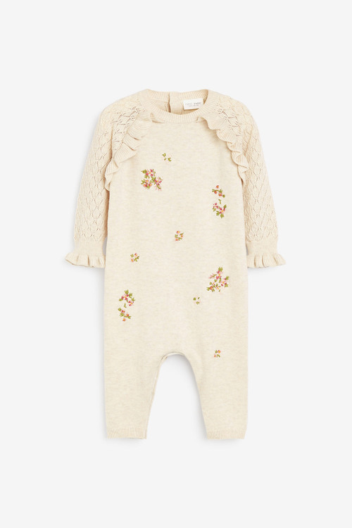 Next Embroidered Knitted Frill Detailed Romper (0mths-2yrs)