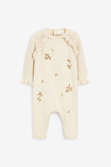 Next Embroidered Knitted Frill Detailed Romper (0mths-2yrs) - 277094