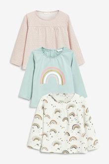 Next 3 Pack Rainbow Long Sleeve T-Shirts (0mths-2yrs) - 277105