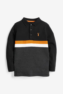 Next Long Sleeve Colourblock Polo (3-16yrs) - 277248