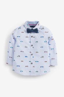 Next Long Sleeve Car Stripe Shirt And Bow Tie Set (3mths-7yrs) - 277299