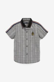 Next Short Sleeve Heritage Check Arm Stripe Shirt (3mths-7yrs) - 277313