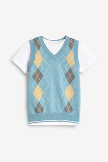 Next Argyle Knitted Tank And T-Shirt Set (3mths-7yrs) - 277320