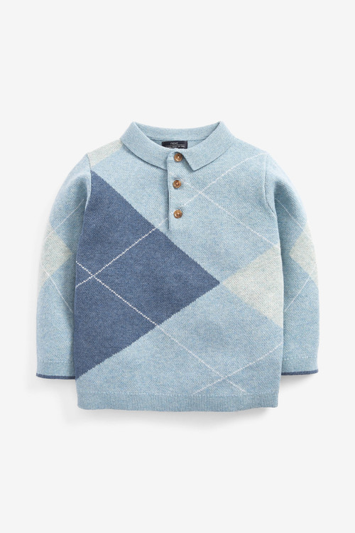 Next Knitted Argyle Pattern Polo (3mths-7yrs)