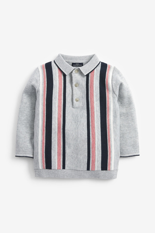 Next Vertical Stripe Knitted Polo (3mths-7yrs)