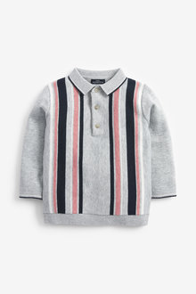Next Vertical Stripe Knitted Polo (3mths-7yrs) - 277336