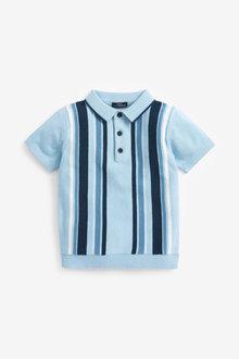 Next Knitted Vertical Stripe Poloshirt (3mths-7yrs) - 277338