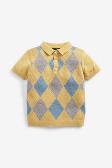 Next Knitted Argyle Pattern Poloshirt (3mths-7yrs) - 277339