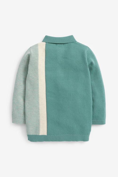 Next Colourblock Knitted Textured Polo (3mths-7yrs)