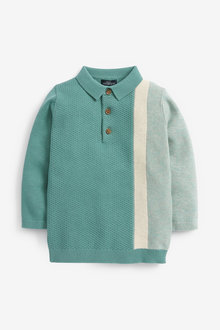 Next Colourblock Knitted Textured Polo (3mths-7yrs) - 277343