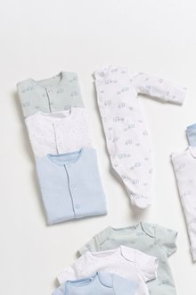 Next 4 Pack GOTS Organic Delicate Elephant Sleepsuits (0-2yrs) - 277352