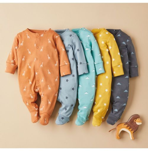 Next 5 Pack Star Conversational Print Sleepsuits (0-2yrs)