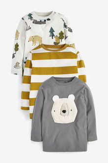 Next 3 Pack Borg Appliquu Bear T-Shirts (3mths-7yrs) - 277380